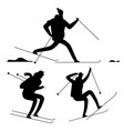 skiing people black silhouettes isolated on white vector image vector image