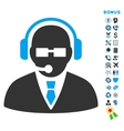 Support Manager Flat Icon with Bonus vector image vector image