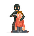 terrorist hostage criminal thief gun character vector image vector image