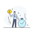 time is money businessman growth charts line vector image