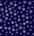 white snowflakes seamless pattern on black vector image vector image