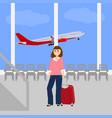 woman at the international airport vector image vector image
