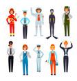women professions flat characters set vector image