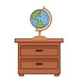 world globe on drawer vector image vector image