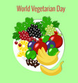 world vegetarian day fruit picnic - plate vector image