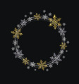 wreath of decorative gold and silver snowflakes vector image