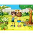 A boy and a girl arguing in the garden vector image vector image
