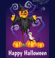 a halloween scarecrows with happy halloween text vector image vector image