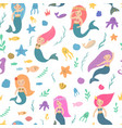 beautiful and cute mermaids vector image vector image