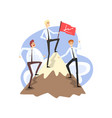 businessmen standing together on mountain peak top vector image