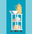 cartoon coffee pot and cups on hotel room cart vector image vector image