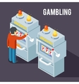 Casino slot machine Using fruit jackpot vector image vector image