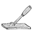 chisel with plank vector image