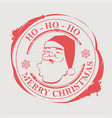 christmas round badge print with santa claus vector image vector image
