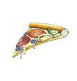 color delicious italian slice pizza hand drawn vector image vector image