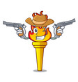 cowboy torch character cartoon style vector image vector image