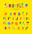 creative summer font and alphabet vector image vector image