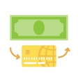 Credit card with cash flat icon vector image vector image