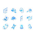 data protection - modern line isometric icons set vector image
