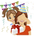daughter giving surprise gift at birthday party vector image vector image