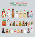 dogs sitting and wearing christmas costume vector image vector image