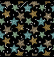doodle star seamless background gold blue and vector image
