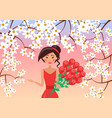 elegant woman with big bunch of roses vector image