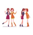 female close friends greeting vector image vector image