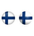 finland flag under 3d dome button and on glossy vector image vector image