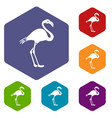 flamingo icons set vector image vector image