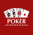 four playing diamond cards poker banner vector image
