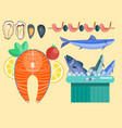 fresh seafood flat fish vector image vector image