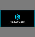 fu hexagon logo design inspiration vector image vector image