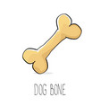funny cartoon cute brown dog bone vector image