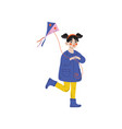 girl playing kite kids spring or summer outdoor vector image vector image