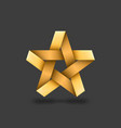 golden metallic star on dark background vector image vector image
