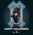 halloween poster with a beautiful witch vector image