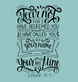 hand lettering with bible verse fear not for i vector image