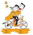 happy couple enjoy cycling vector image vector image