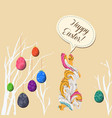 happy easter eggs and doodle bunny greeting card vector image vector image