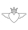 heart in love with wings crown decoration vector image vector image
