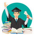 highschool graduate with diploma in hands and vector image