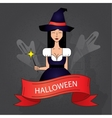 Linear icon with cute Halloween witch in purple