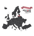 map of europe with the state of latvia vector image vector image