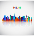 milan skyline silhouette in colorful geometric vector image vector image