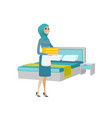muslim housekeeping maid with stack of linen vector image vector image