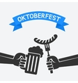 Oktoberfest concept Hand with beer mug and vector image vector image