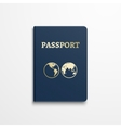 Passport with gold globe earth emblem on cover vector image