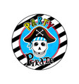 pirate party sign with skull in cocked hat icon vector image vector image