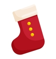 Red Christmas sock icon cartoon style vector image